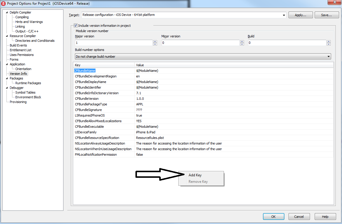 ERROR ITMS-90507: Missing Info plist value  A value for the
